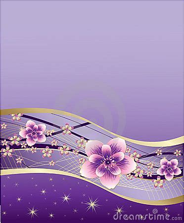 Purple Background With Pink And Gold Flowers Royalty Free